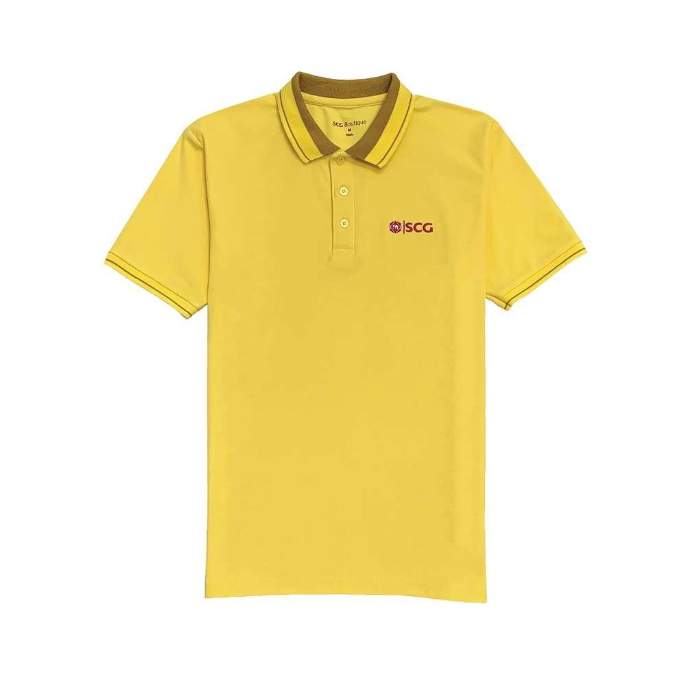 เสื้อโปโล ปกริ้ว สีเหลือง SCG ช (L)
