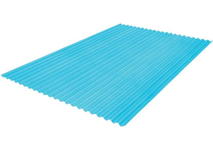 แผ่นโปร่งแสง เอสซีจี ลอนกันสาด รุ่นยูวีชิลด์ 105x600x0.12ซม.สีฟ้าน้ำทะเล